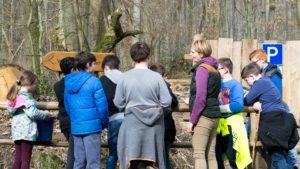 Wildpark Saarbrücken, Kinder untersuchen Graben Wildpark-Akademie